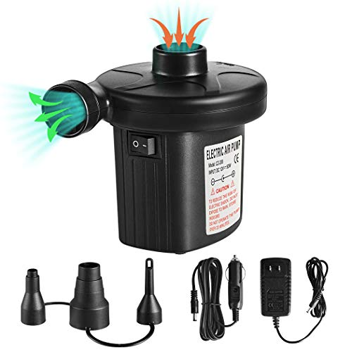 Electric Air Pump Quick-Fill Air Pump for Inflatable Couch,Airbeds,Swimming Ring,Inflatable Pool,2 in 1 Portable Air Mattress Pump,Powerful Electric Inflator Air Pump with 3 Nozzles 110-240V AC/DC