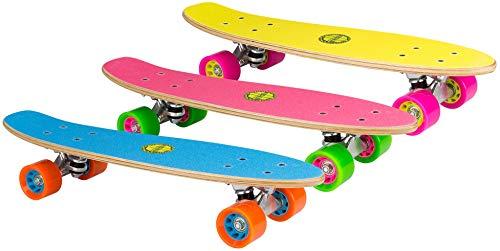 Nijdam Free Flip skateboard hout, fluorgeel/magenta/grijs, één maat/22,5 inch