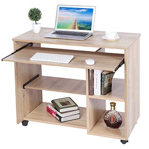 Escritorio para ordenador con estante extraíble – Mesa con teclado extraíble y estantes abiertos, compartimento para ordenador, con 5 ruedas, capacidad de carga de 50 kg, 88,5 x 48 x 74,5 cm