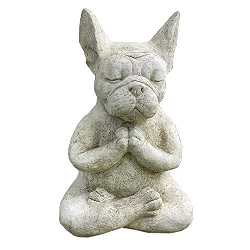 Meditating French Bulldog Statue Outdoor French Bulldog Garden Statue Lndoor and Outdoor Courtyard Garden Bulldog Ornament