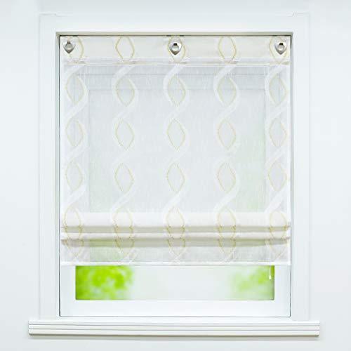 Joyswahl Garn Raffrollo halbtransparente Ösenrollo mit Landhausstil »Anouk« Schals Fenster Gardine mit Hakenaufhängung, ohne Bohren BxH 60x140cm 1 Stück