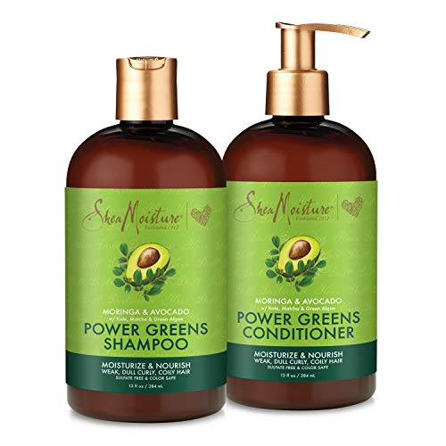 SheaMoisture Power Greens Curly Hair Shampoo and Conditioner Dry Hair Moringa Avocado to moisturize