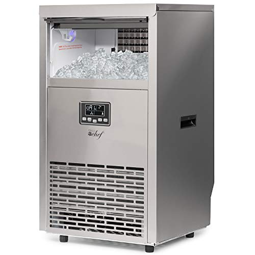 Deco Chef Commercial Ice Maker 99lb Every 24 Hours 33lb Storage Capacity Stainless Steel Great for Hotels, Restaurants, Bars, Homes, Offices Includes Connection Hoses and Ice Scoop