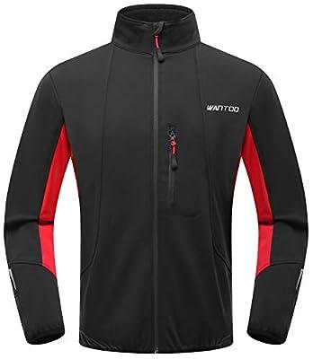 Wantdo Men's Windproof Bike Jacket Waterproof Breathable Outdoor Sportwear Red M from