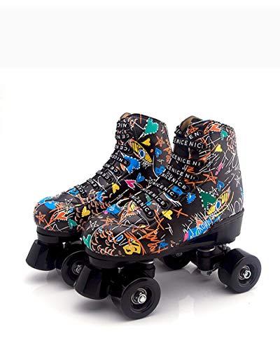 Longxs Rollerskates, Eisbahn professionelle Coole LED blinkende Rollschuhe Zweireihige Rollschuhe Erwachsenensport für Mädchen und Jungen-40