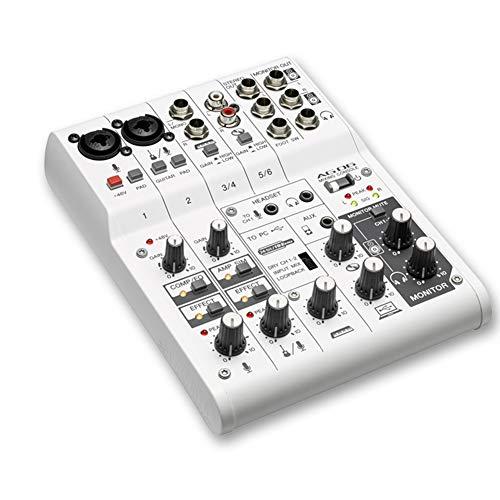HLW Scheda Audio Digitale Mini Mixer Professionale a 6 canali con Scheda Audio per la Registrazione di brani Webcast