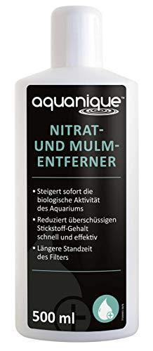 AQUANIQUE Nitrat- und Mulmentferner 500ml, senkt den Nitratgehalt im Aquarium, entfernt Mulm aus Süßwasseraquarium und Meerwasseraquarium, Aquarienpflege, Wasserpflegemittel