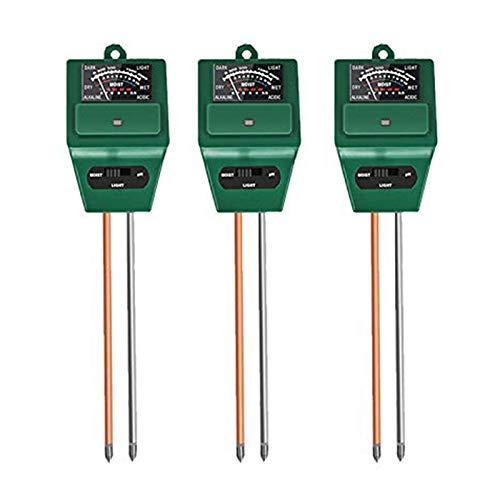 Eamplest 3pcs Bodentester-Sensor, 3 in 1 pH/Feuchtigkeit/Leichter Bodentester-Sensor, für Blumen/Gras/Pflanze/Garten/Bauernhof/Rasen