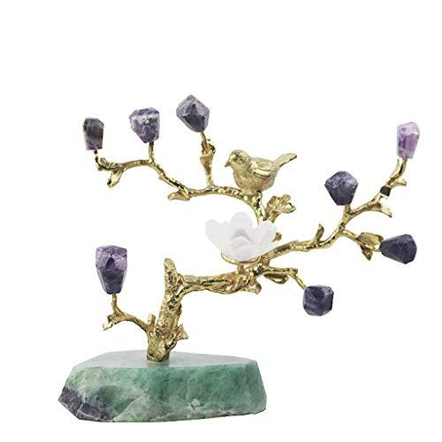 NYKK Ornamento de Escritorio Sala Mesa de Cristal Natural de la decoración del árbol de Metal Escritorio Cristales Inicio Accesorios Bonsai árbol del Dinero de Feng Shui Healing artesanías decoración