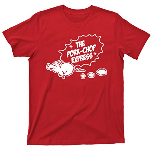 The Pork Chop Express T Shirt Jack Burton Trucking Big Trouble in Little China 80s Action Comedy Movie Tee (XL, Red)