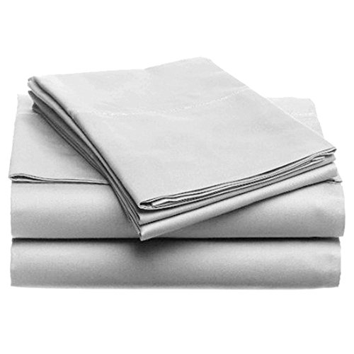 Best Bedding Store Full Sleeper Sofa Sheet Set 4-PCs - Silver Grey Solid 100% Egyptian Cotton 600 Thread Count Fit Up to 8''-10'' inches Deep