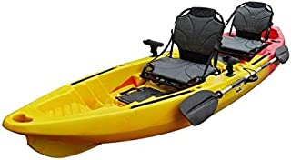 BKC TK122 12.9' Tandem Fishing Kayak W/Upright Aluminum Frame with Backrest Support Seats, Paddles, 4 Rod Holders Included 2-3 Person Angler Kayak