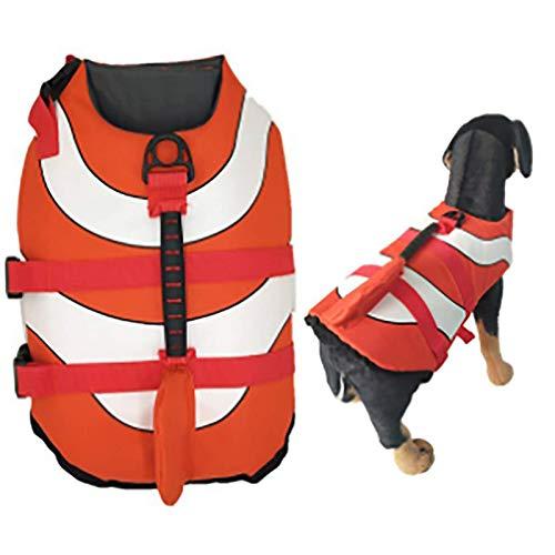 Chaleco salvavidas para perro, chaleco salvavidas de piscina, chaleco flotador y mango de seguridad de alta visibilidad, rojo, S