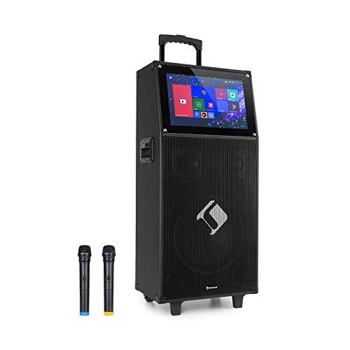 auna KTV Sistema de Karaoke - Equipo PA móvil, Bluetooth, USB, Ranura SD, Micro-SD, HDMI, Entrada de micrófono, Salida Auxiliar, para Eventos de Karaoke y DJ, Pantalla táctil de 15,4