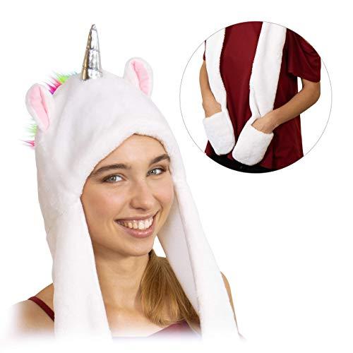 Relaxdays Einhorn Mütze, Erwachsene, lustiger Einhornhut mit Handwärmern, mit Horn, Ohren & Regenbogenmähne, weich, weiß