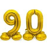 Globos XXL de pie con el número 90 en oro como decoración para cumpleaños,...