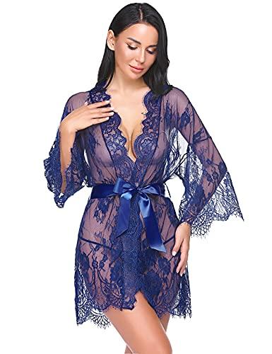 Avidlove Damen Dessous Kimono Kurz Spitze Kleid Gown Weiter Ärmel Transparente Robe Kurz Mesh Bikini Cover up Spitze Sommer Bat mit Gürtel und G-String blau XL