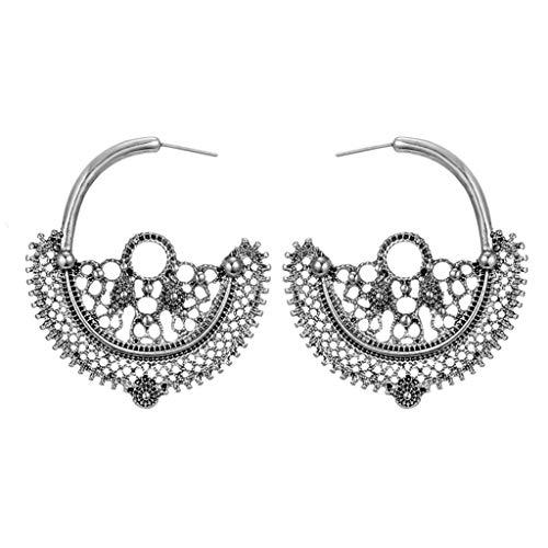 UINGKID Damen Ohrringe Mode Ohrstecker Vintage Einfache Retro Spitze Hohl Ball Runde Blume Schmuck