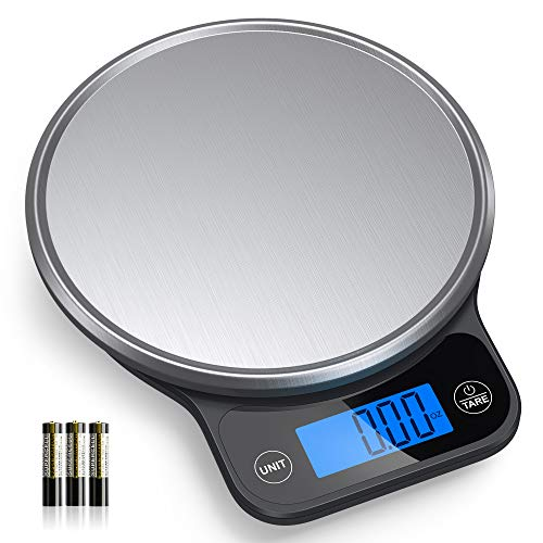 Nicewell Food Scale, High Accurate Digital Kitchen Scale with Pastry Mat, Scale Measures in Grams and Ounces 6kg 13lbs Max , with Premium Stainless Steel Platform and Large Backlit Display