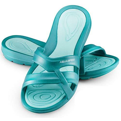 Aqua Speed - Set - Panama Zapatillas de baño + Toalla de Microfibra | Mujeres | Sandalias de Ducha | Zapatillas de Playa, Color:Panama Damen - 42, Tamaño:37