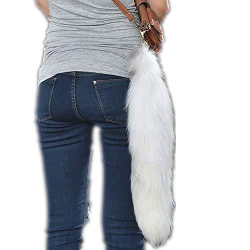 Deetto Real Fox Tail Key Chain Cosplay Fluffy Fur Keychain Super Soft Handbag Accessory Tassel