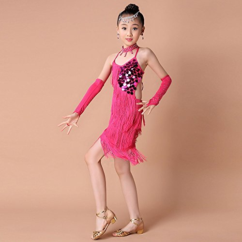 Ropa de Baile para Niñas Latino Vestido con Flecos de Fiesta Dancewear de Cosplay Princesa,Lentejuelas Flecos Falda de práctica de Baile Latino + Collar + Mangas + Pantalones de Seguridad Cuatro