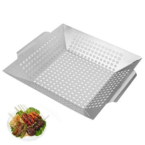 Grillplaat, Niunion Vierkante roestvrijstalen duurzame grillplaat BBQ-mandlade met gaten Barbecue-gereedschap voor buiten
