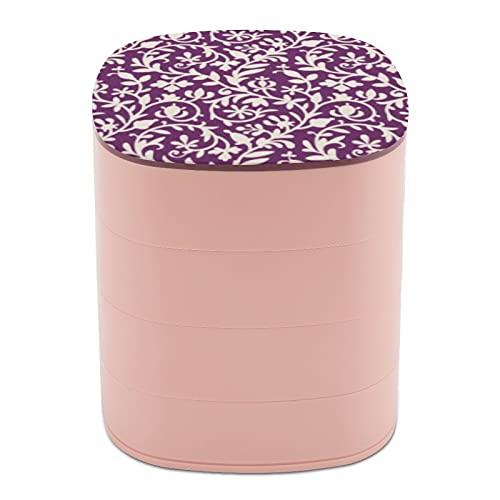 Rotar la caja de joyería, caja de almacenamiento de joyas de 4 capas, rotación de 360 grados, caja creativa para anillos, pendientes, collar, broche, baratijas, ciruela, morado y beige hojas florales