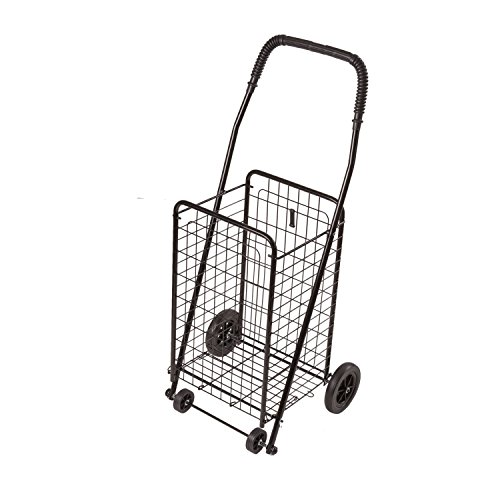 DMI Shopping Trolley, Folding Shopping Cart, Compact, Lightweight Folding Cart, Black