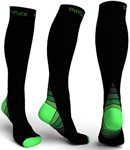 Physix Gear Sport Calcetines de compresión, los mejores calcetines compresión mujer y hombre para el dolor de pies y gemelos, medias de compresión hombre y mujer, 1 par, S M, negro verde