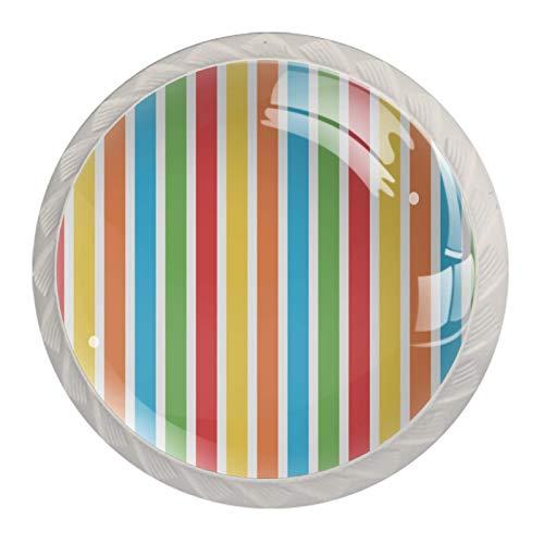 (4 piezas) pomos de cajón para cajón con tiradores de cristal para gabinete de gabinete con tornillos para el hogar, oficina, armario, rayas, rojo, amarillo, azul, verde, 35 mm
