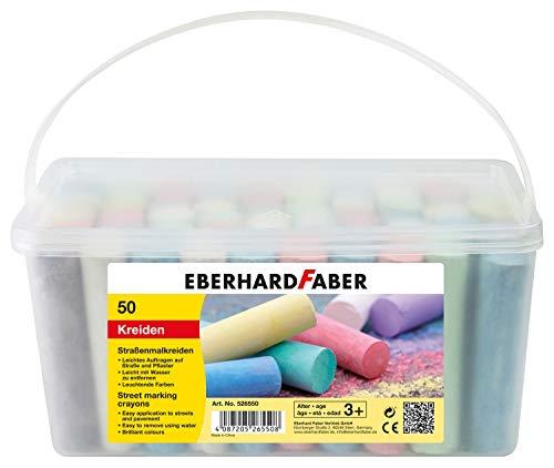 Eberhard Faber 526550 - Straßenmalkreiden in 6 leuchtenden Farben, Eimer mit 50 Kreiden, für bunten Malspaß auf Asphalt, Straßen & Gehwegen
