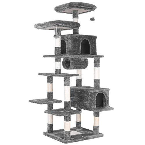 "POTBY 80"" Multi-Level Cat Tree XXL Tall Play House Climber Activity Centre Tower Stand Furniture, W/Scratching Posts, Dangling Ball,Condo and Tunnel,Anti-toppling Device,for Kittens,Large Cats"