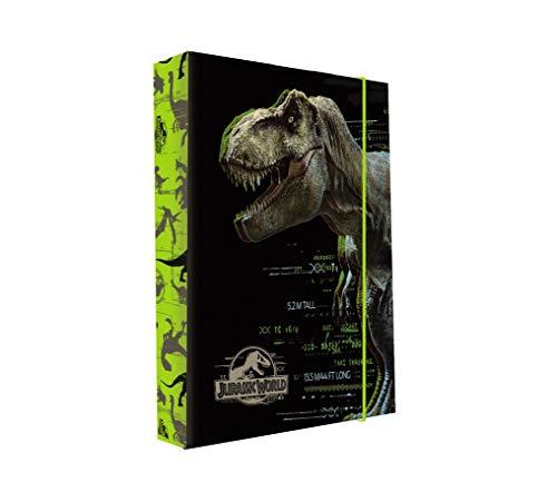 Heftordner Heftbox A4 Dinosaurier Tyrannosaurus T-Rex für Hefte Mappen Dino Heftmappe Ordnermappe Ordnungsmappe Hefter Kinder Jungen Gummizugmappe Urzeit Dinos Saurier + Sticker-von-Kids4shop