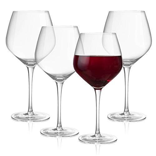 Lumi & Numi - Juego de 4 copas de vino de gran tamaño de tallo largo para vino tinto y blanco, apto para lavavajillas, hecho a mano, sin plomo, copa de vidrio con tallo para entretenimiento y regalo