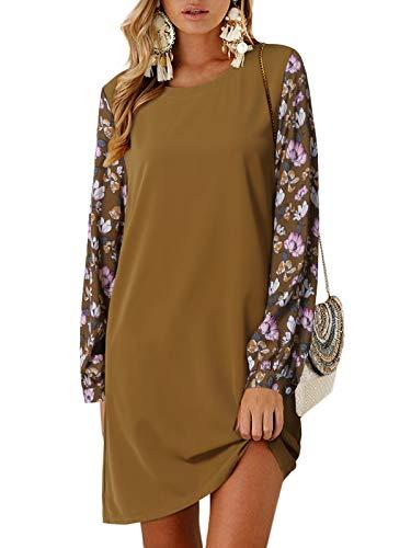 YOINS Vestido de manga larga para mujer, de invierno, cuello redondo, túnica, suelto, con lazo, mangas Manga Larga-Amarillo-Flores S