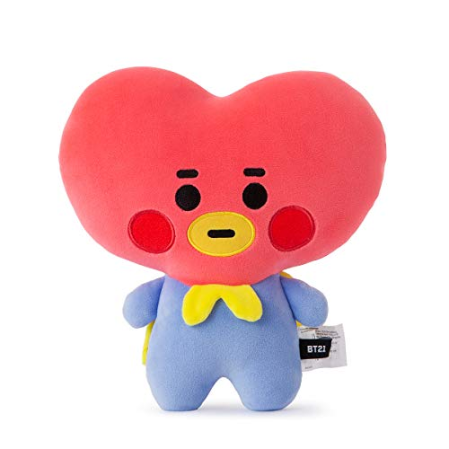 BT21 Official Merchandise by Line Friends - Baby Series TATA Character Figure Mini Flat Decorative Body Cushion Pillow, Red