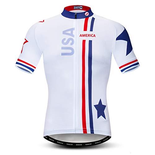 Bike Jersey Men Cycling Jerseys Mountain Road Bicycle Top MTB Shirts Short Sleeve Summer White Size L
