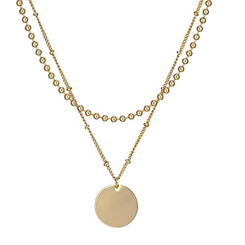 Bohemia Layered Necklace Disc Coin Silver Gold Plated Bead Station Chain Christmas Valentine's Day (Gifts Box) Dainty Coin Pendant Sweater Necklace for Women