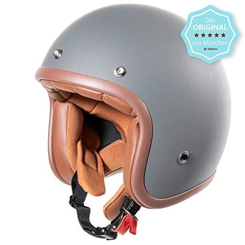 ORIGINAL Fräulein Irmi Retro Vespa-Helm, Jet-Helm mit Sonnen-Visier, Roller-Helm für Frauen und Herren im edlen Vintage-Look, Qualität nach ECE-Norm, grau matt