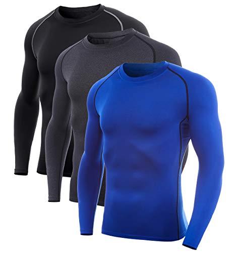 SILKWORLD Men's Long-Sleeve Compression Shirt Base-Layer Running Top, 3 Pack: Blue, Hemp Gray, Black(Grey Stripe), XL