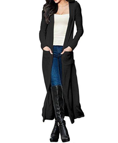 YALI Sólido Larga Sección Cazadora Color del Estilo De La Moda,Negro,S