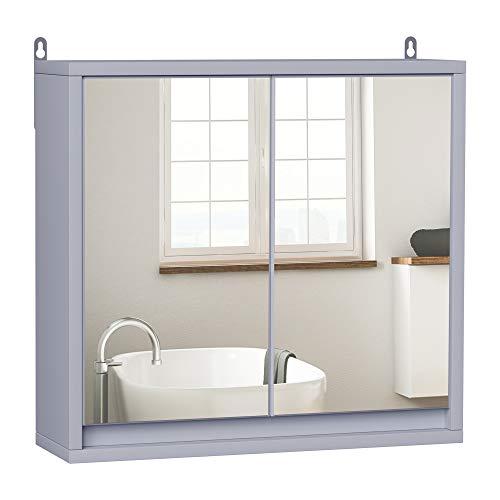 HOMCOM Armario de Baño con Espejo de Pared con Estante Ajustable de 3 Niveles 2 Puertas Almacenamiento para Cocina Medicinas 48x14,5x45 cm Gris