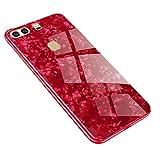 AIsoar Funda para Huawei P9 Plus + cristal templado Carcasa trasera + Ultra Thin Slim Transparente TPU Silicona Suave Modelo Carcasa Antigolpes antiarañazos Brillante Shell Rojo (red)