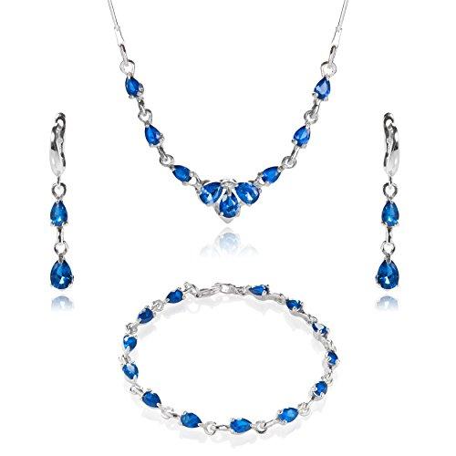 LillyMarie Damen Silber-Schmuckset Sterlingsilber 925 Zirkonia-Steine Saphir-blau Längen-verstellbar Geschenkverpackung Brautschmuck