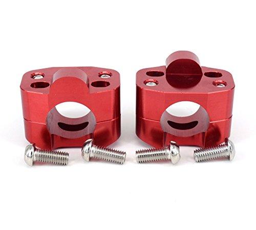 "Par Moto 1 1/8""CNC Manillar de la Motocicleta Riser Mount Clamp Adaptador 7/8"" Intercambio 1 1/8""- Rojo"