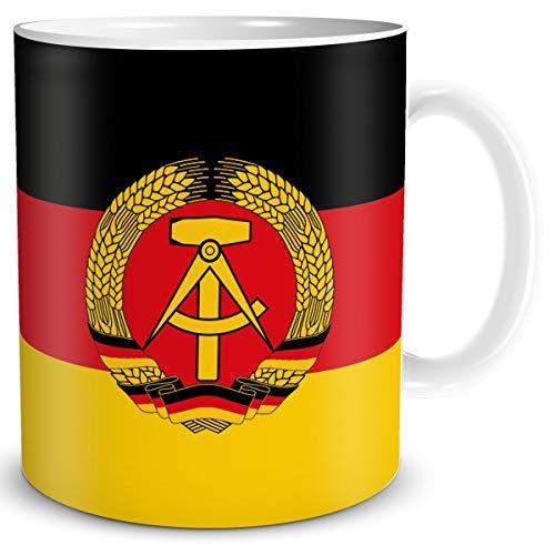 TRIOSK Tasse Flagge DDR Länder Flaggen Geschenk Souvenir Deutsche Demokratische Republik für Ost Nostalgiker Frauen Männer Arbeit Büro Kollegen