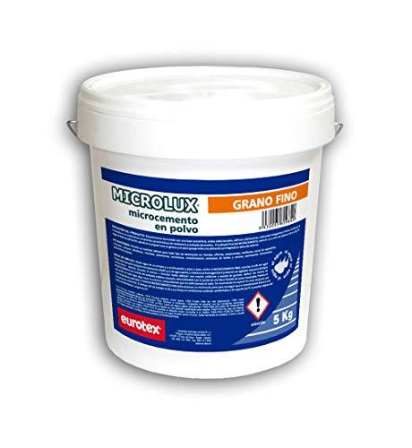 Micrcolux - Microcemento en polvo de grano fino para suelos y paredes, Ideal para decoración de terrazas, fachadas, baños, cocinas - Uso exterior e interior, Color blanco, 5 Kg