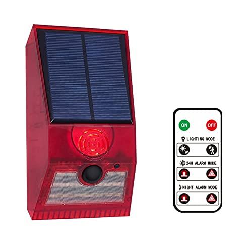 Lampe d'avertissement solaire, lumière solaire avec télécommande et détecteur de mouvement IP55, étanche, sirène de sécurité pour maison, villa, cour extérieure (rouge)
