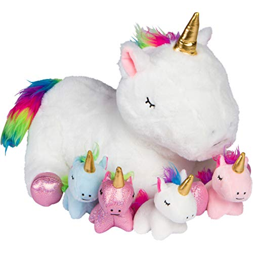 Unicorn Stuffed Animals for Girls Ages 3 4 5 6 7 8 Years; Stuffed Mommy Unicorn with 4 Baby Unicorns in her Tummy; Toy Unicorn Pillows for Girls